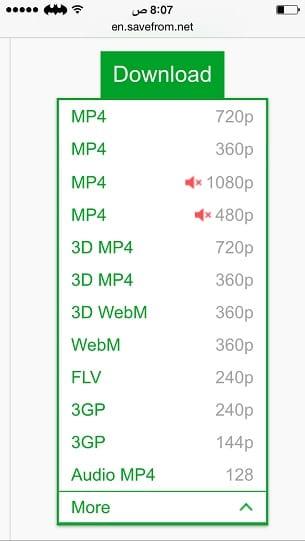 خيارات الحفظ داخل أفضل برنامج تحميل من اليوتيوب للايفون