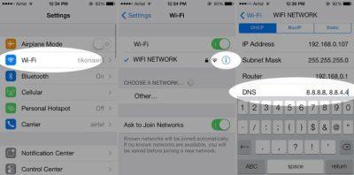 تغيير إعدادات DNS بهدف تقوية الواي فاي في الايفون