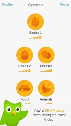 تطبيق duolingo لتعلم اللغات - واجهة اللغة الألمانية