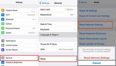 إعادة تعيين إعدادات الشبكة في الايفون