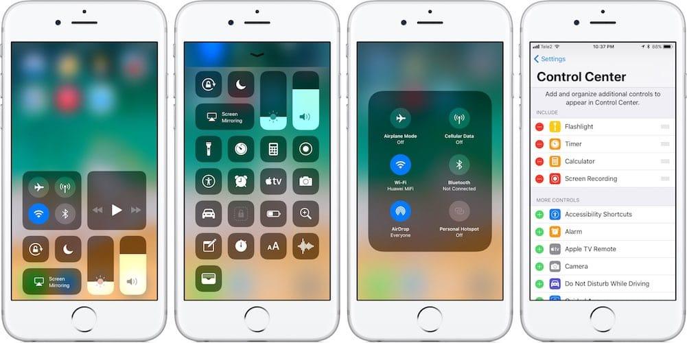 نظام iOS 11 يوفر خصائص 3D Touch لجميع الأجهزة في استخدام مركز التحكم