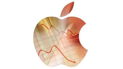 شعار ابل يظهر إرتفاع وانخفاض الأسهم طبقا للنتائج المالية