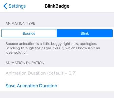 واجهة تفضيلات أداة BlinkBadge