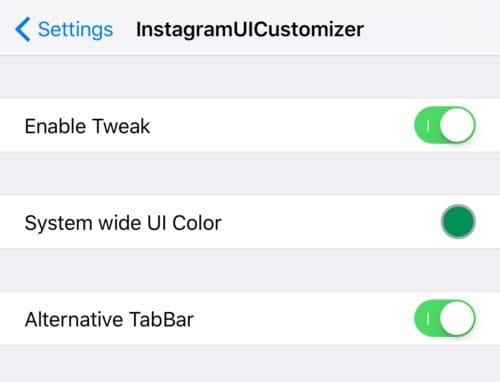واجهة تفضيلات أداة InstagramUICustomizer