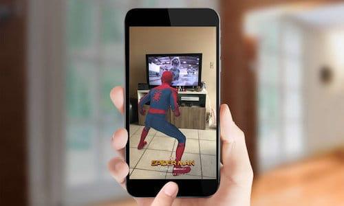 صورة الرجل العنكبوت باستخدام تطبيقات الواقع المعزز على الايفون