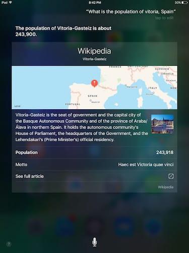 واجهة المساعد الشخصي Siri التحقق من معلومات عامة