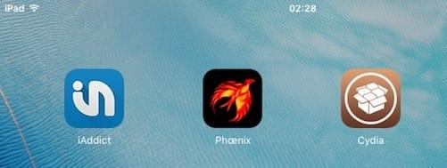 الشاشة الرئيسية تظهر متجر السيديا و تطبيق جيلبريك شبه مقيد لنظام iOS 9.3.5 Phoenix