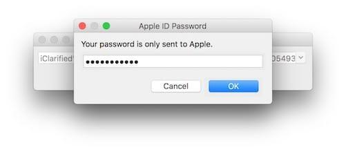 إدخال كلمة مرور حساب Apple ID