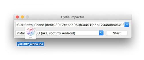 سحب و افلات أداة جيلبريك Phoenix IPA على برنامج Cydia Impactor
