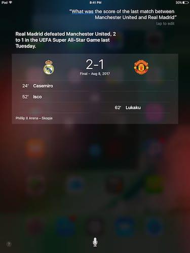 واجهة المساعد الشخصي Siri التعرف على النتائج الرياضية