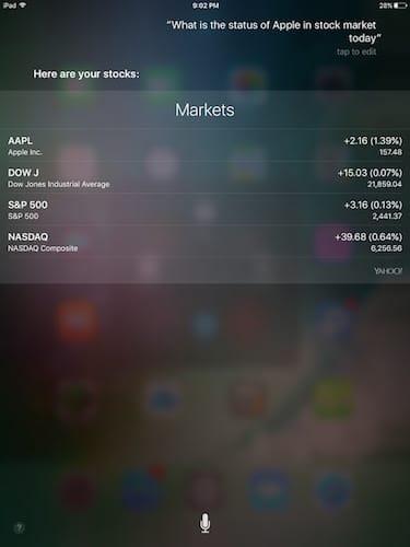 واجهة المساعد الشخصي Siri التعرف على أسعار الأسهم في البورصة