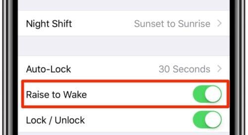 ميزة Raise to Wake