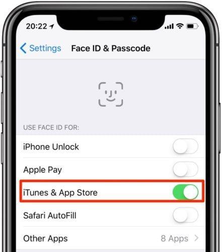 تفعيل خيار iTunes & App Store