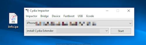 واجهة برنامج Cydia Impactor