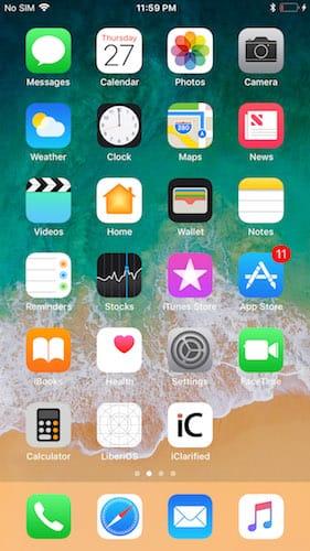 الشاشة الرئيسية للايفون