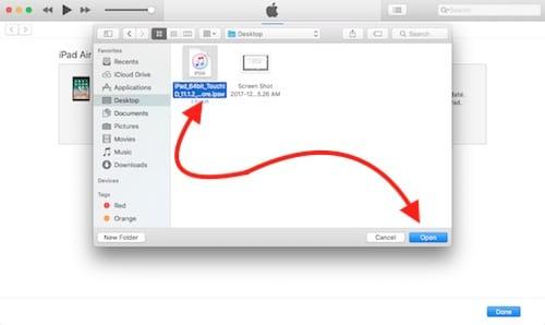 تحديد ملف النظام لإصدار iOS 11.1.2