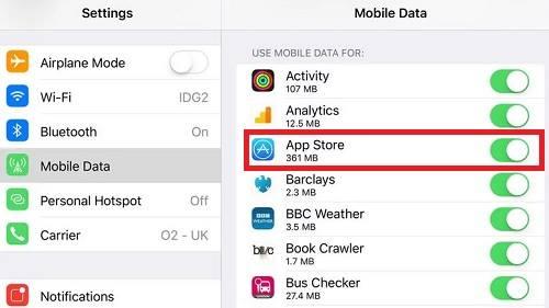 السماح لمتجر آب ستور باستهلاك البيانات الخلوية لحل مشكلة لا يمكن الاتصال بـ App Store