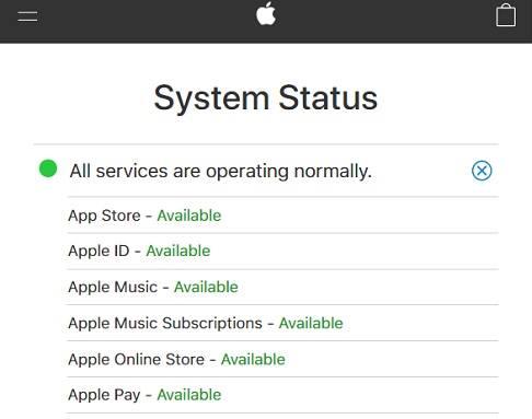 حالة نظام آبل، المتجر يعمل، إذا لا يمكن الاتصال بـ App Store ترجع لسبب آخر