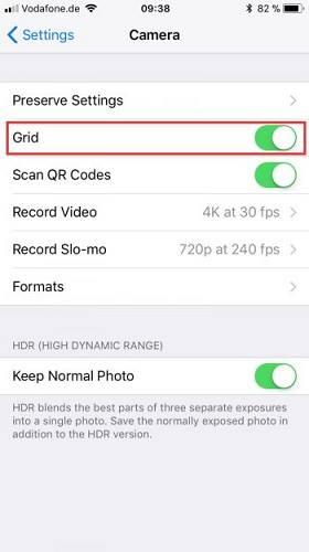 ضبط اعدادات ميزة الشبكة في كاميرا الايفون