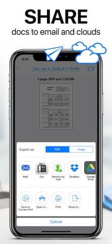 واجهة تطبيق Scanner App: Scan PDF Document