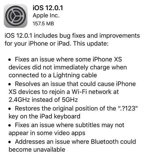 تحديث iOS 12.0.1 لحل مشاكل آيفون XS