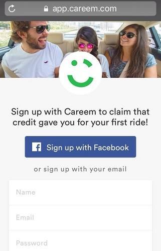 التسجيل في كريم و طلب سيارة اجرة مجانا