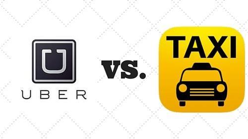 سيارة الأجرة التاكسي العادية و خدماتأوبر UBER