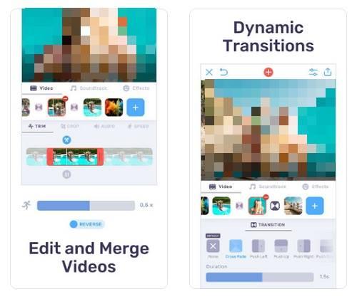 لقطات شاشة لافضل برنامج تصميم فيديو للايفون لدمج الصور في الفيديو واضافة الموسيقىVideo Maker