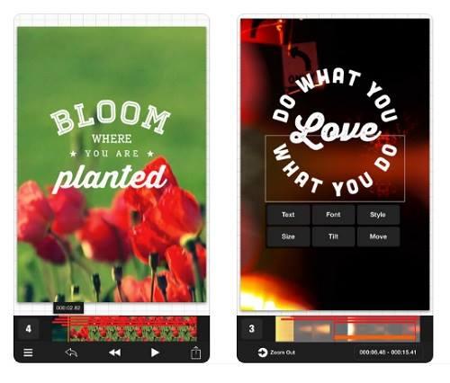 لقطة شاشة من افضل برنامج تصميم فيديو للايفون للكتابة على الفيديو Vont