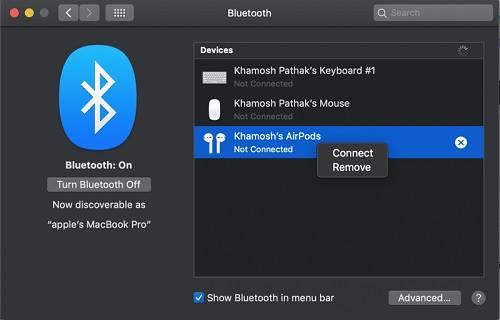 حل مشكلة عدم اقتران سماعات AirPods بحواسيب Mac التي تعرفت عليها من قبل