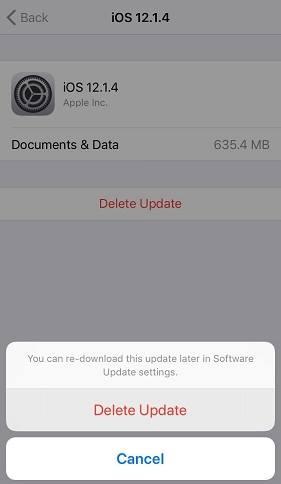 حذف التحديث قبل تثبيت جلبريك iOS 12