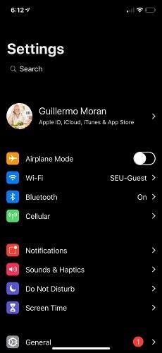الوضع الليلي في اعدادات نظام iOS 12