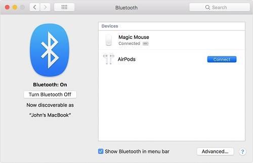 اقتران سماعات AirPods بحواسيب Mac