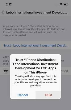 الوثوق بمطور جلبريك iOS 12
