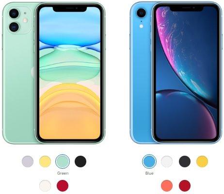 مقارنة بين آيفون 11 وآيفون Xr من حيث الألوان