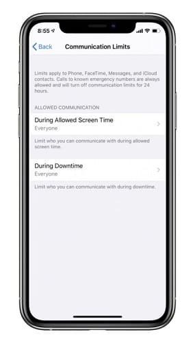 ميزة الحد من المكالمات في iOS 13.3
