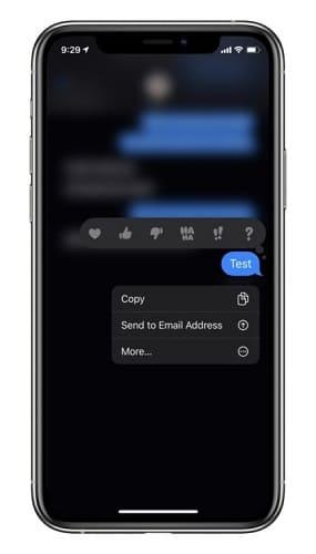 القائمة اللمسية في تطبيق الرسائل iOS 13.3
