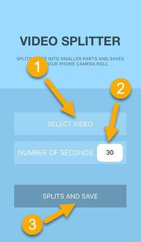 واجهة تطبيق VIDEO - SPLITTER لاضافة فيديو طويل لحالة واتس اب