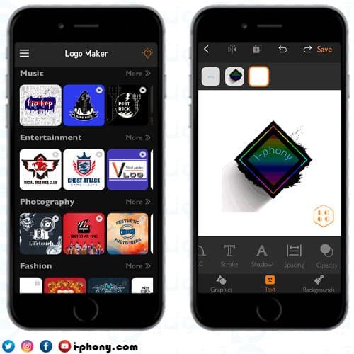 لقطات شاشة من برنامج مصمم الشعارات للايفون Logo Maker