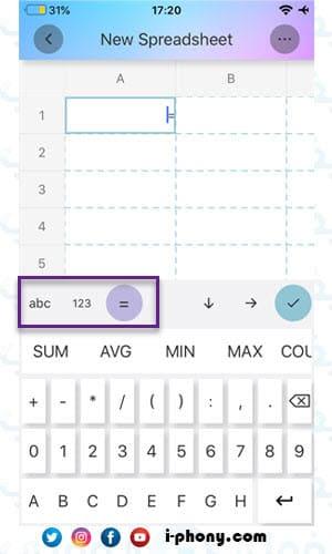 لوحة المفاتيح في تطبيق simple spreadsheet لتصميم جداول بالايفون