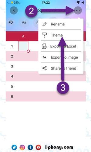 تغيير تصميم الجدول في تطبيق simple spreadsheet للايفون