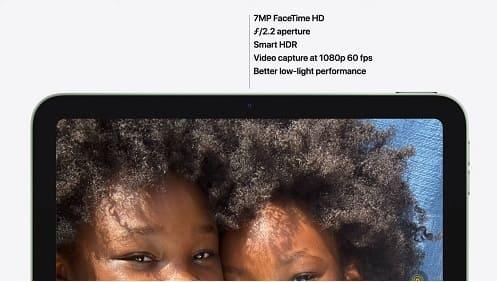 مواصفات الكاميرا الأمامية في iPad Air 4