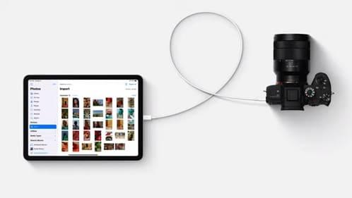 نقل الصور من الكاميرا إلى الآيباد عن طريق USB-C
