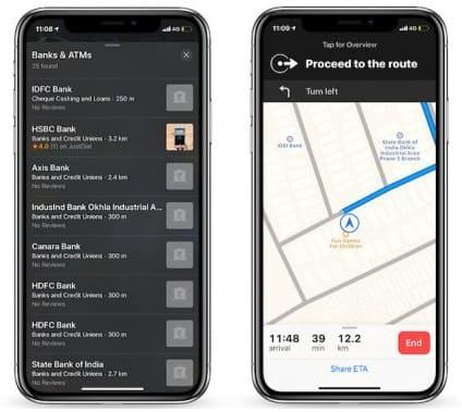 لقطة شاشة من تطبيق خرائط آبل للايفون