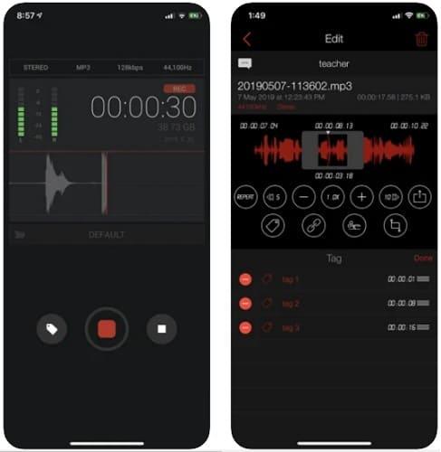 لقطات شاشة من تطبيق AVR لتسجيل الصوت واضافة المؤثرات للايفون