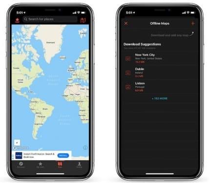 لقطات شاشة من تطبيق الخرائط للايفون CityMaps2Go