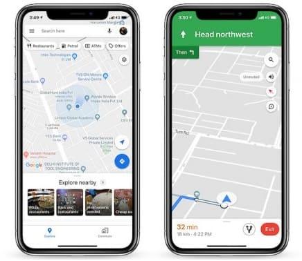 لقطة شاشة من برنامج خرائط جوجل للايفون