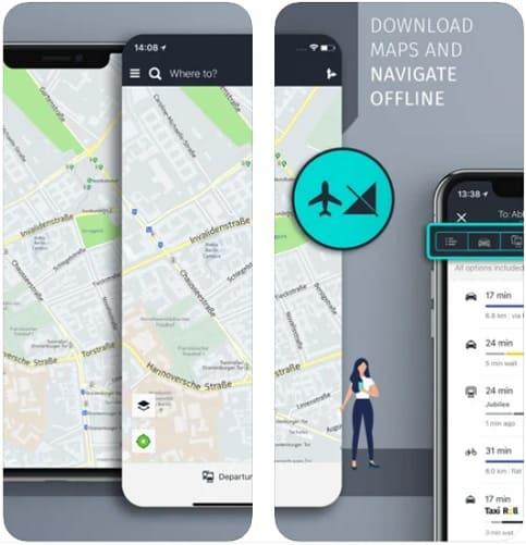 لقطة شاشة من تطبيق الخرائط للايفون HERE WeGo