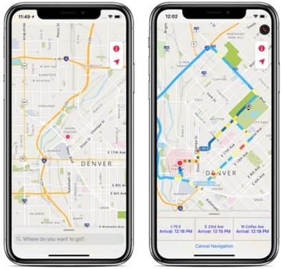 لقطة شاشة من برنامج الخرائط للايفون MapQuest