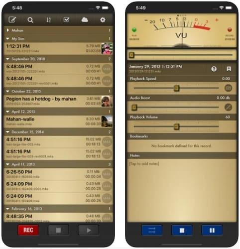 لقطات شاشة من تطبيق VRP لتسجيل الصوت بالايفون وإضافة الصدى